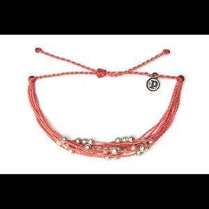 PURAVIDA Coral Bracelet with Silver Beads NEW